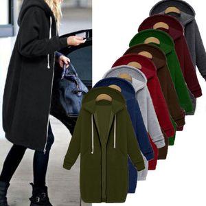HEFLASHOR 2019 Autumn Winter Casual Women Long Hoodies Sweatshirt Coat Zip Up Outerwear Hooded Jacket Plus Size Outwear Tops Y200107