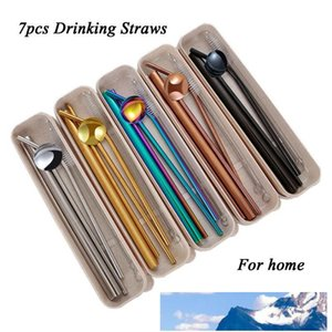 Reusable Metal Drinking Straws Stainless Steel Sturdy Bent Straight Drinks Straw with Cleaning Brush Bar Party Accessory