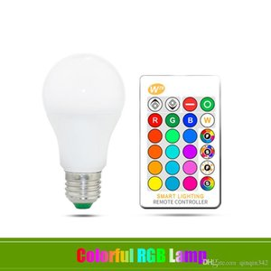 DHL E27 LED Bulb 5W 10W 15W RGB + White 16 Color LED Lamp AC85-265V Changeable RGB Bulb Light With Remote Control + Memory Function