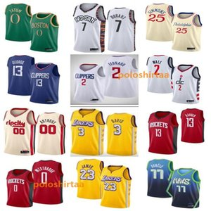 Mens 77 Baloncesto Jersey bordado cosido Durant Doncic jerseys LeBron James 23 Russell Westbrook 0 2 13 Leonard Harden Paul George 13 7