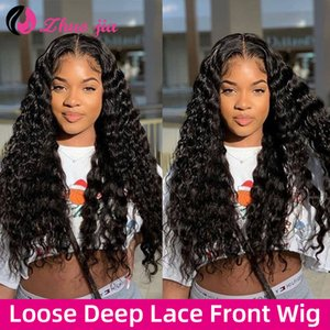 Loose Deep Wave Wig 180 Density Lace Front Human Hair Wigs Preplucked Brazilian Curly Human Hair Wigs Lacefront Wig Human Hair