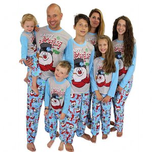 Family Matching Christmas Pajamas Set Mom And Kid Clothes Snowman Print Warm Swearshirt And Pants Adult 2pcs Clothing Outfit