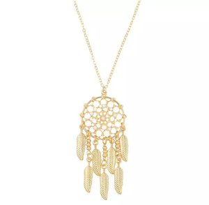 Fashion Dreamcatcher Necklace New Personality Geometry Hollow-out Saussurea Leaf Necklace Long Sweater Chain the best gift for women