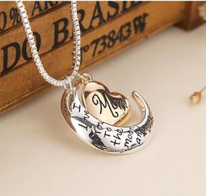 Hohe Qualität Herz Schmuck Ich liebe dich zum Mond und zurück Mama Anhänger Halskette Mutter Tag Geschenk Großhandel Modeschmuck GD463