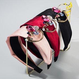 High-end boutique hair accessories wide edge headband alloy Super Flash Diamond creative flower wide edge face wash hair band