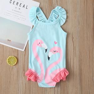 Çocuklar İçin 2020 Sevimli Kız Mayo Pembe Flamingo Çocuk Mayo Yüzme Swan Flamingo Bebek Kız Mayo Bir Adet Swim Wear