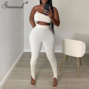 Белый одно плечо Bodycon Matching наборы Женщины Sporty Casual Skinn двухкусочный Эпикировка рукавов верхней и боковой щелью брюки S-L