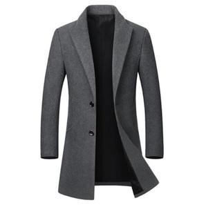 Mens inverno Designer Jacket Moda de Slim lapela pescoço Mid Longo Comprimento Brasão Casual cor sólida Mens Coats