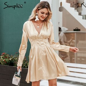 Simplee Sexy v neck satin dress women Long sleeve pleated autumn winter female mini dresses Fashion party club ladies vestidos