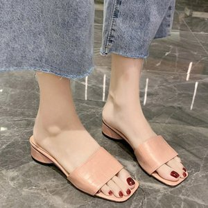 Low Heel Slippers Mulheres Pu Couro Slides Verão Chunky Heel Slippers Mulheres Natal aberto Toe Slides Preto Verde Rosa HCSI #