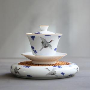 Blue And White Porcelain Gaiwan Handpainted Ceramic Tea Tureen Tea Service Hand Made Tea Bowl Accessories Home Decor