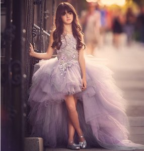 Fashion High Low Purple Flower Girl Dresses 2020 Applique Ruffles Girls Pageant Gowns Children Kids Prom Party Dress