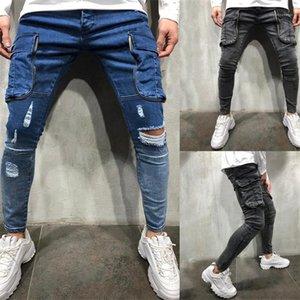 غسلها منتصف الخصر سليم جينز رجل عارضة أوم جينز مع جيوب مرصوف مصمم جينز رجالي ثقوب المتناثرة