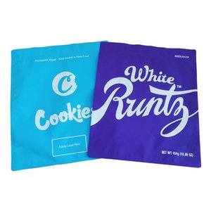 16OZ Bag 1 Pound Borse Bianco Runtz Cookies C Real antipolvere impermeabile agli odori Pacchetto Stand Up Pouch Packaging