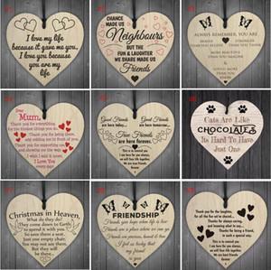Ahşap Asma Kalp Plaket Sevimli Sevgililer Günü Hediye İşaret Düğün Süsleme Noel Ağacı Süsleme kolye SN3168 16styles