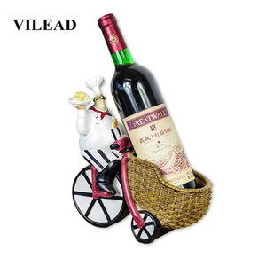 VILEAD 24.5cm Resin Cycling Wine Racking Chef Figurines Creative Crafts Western Restaurant Decoration Ornaments For Home Shops T200709