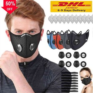 US Stock New Cycling Face Mask Activated Carbon avec filtre anti-pollution PM2.5 Sport Courir Formation VTT Route Protection vélo Masque anti-poussière