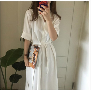 2020 Yaz Kadın Katı Beyaz Haki Moda Şık Beyaz Maxi Gömlek Uzun Elbise Kadın Vestido