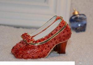 mago di oz regali Ruby Slipper ingioiellata gioielli scatola d'oro Faberge scatola gingillo d'epoca in metallo scatola regalo decorazione in peltro lega di metallo ornamento
