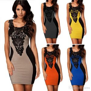 New Elegant Women's Sleeveless Lace Neck Dress Evening Cocktail Party Dress S M L XL With Free Shipping