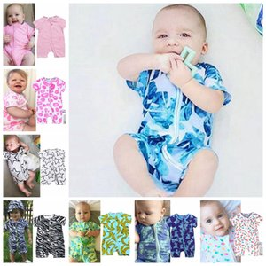INS Baby Romper Printed Infant Boy Rompers Short Sleeve Toddler Girl Jumpsuits Designer Newborn Clothes Summer Baby Clothing 15pcs DW4992