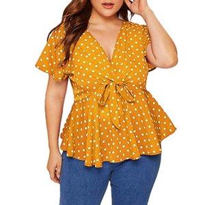 Womens grande taille col en V Chemise à manches courtes Top Knot Polka Dot Femmes avant Hauts Polka Dot And Summer Chemisier Roupas Feminina