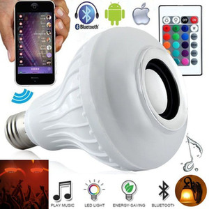 Wireless 12W Power E27 LED RGB Bluetooth Speaker Bulb Light Lamp Music Playing (Color: White)
