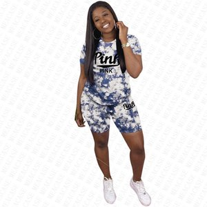 Women tracksuit Tie dye Fashion Designer short sleeve t shirt pullover top Tees +shorts two piece outfit summer sports suit S-3XL 2020 D7715