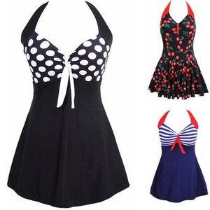Sexy Plus Size Stripe Padded Halter Skirt Swimwear Women One Piece Suits Swimsuit Beachwear Bathing Suit Swimwear Dress M To 4XL T200708