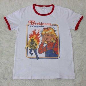 Hillbilly lindo camiseta gráfica Pirokinesis para el desgaste de la calle principiantes Moda equipos del verano de las mujeres Retro Ringer 80s 90s Tees Camisetas