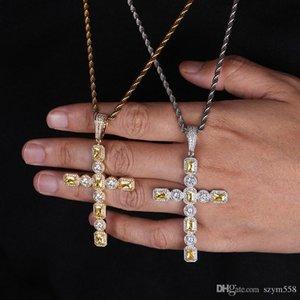 Iced Out Цепи Хип-хоп ювелирных изделий Полный Алмазный крест ожерелье Micro Цирконий Copper Набор Diamond Necklace Хлеб Алмазный