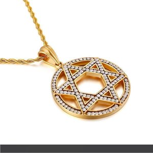 Hip hop gold hexagonal star stainless steel Gold Crystals 48mm round Cool Pendant Necklace Fashion Bling 22 inch
