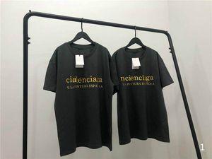 Verano nuevo y elegante la camiseta de las mujeres largas de la moda camisas de las camisetas de oro letras impresas de manga corta camiseta de las mujeres ropa de color Negro
