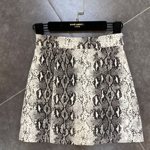WOMENGAGA 2020 Летний Новый Color Matching Зернистая Змея шаблон высокой талией юбка моды личности Zipper B413