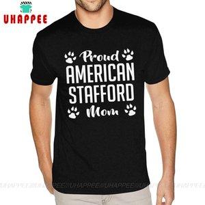 Orgulho Prond americano Stafford Mom Tees Men Projete sua própria manga curta de algodão preto Tripulação camisetas