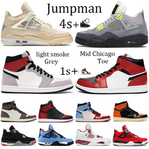 New 4s Sail Jumpman 1s Light Smoke Grey basketball shoes 4 metallic purple green black cat Mid Chicago royal Toe sport running sneakers