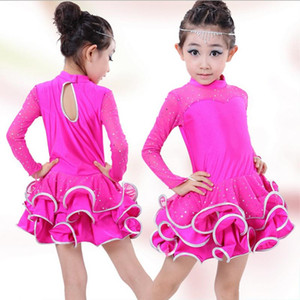 High quality Fall and winter children's ballroom stage clothing girls Latin dance long-sleeved dress perfoming costumes