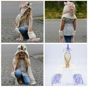 2 in 1 unicorn scarf cap Kids Infant Llama Warm Knitted Hats Children cartoon warmer Winter crochet Hat 5pcs 3Colors