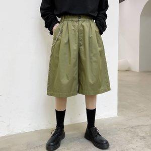 El verano masculino Streetwear Hip Hop suelta pierna ancha pantalones de los hombres colgante del metal ocasionales elásticos de la cintura hasta la pantorrilla Pant Traje