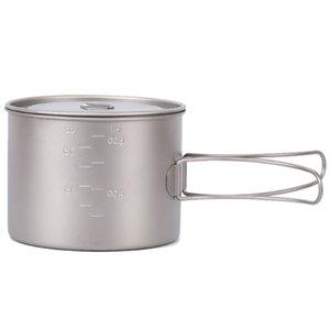 Titanium Outdoor Cup Titanium Water Mug Cup With Lid Handle Outdoor Camping Pot Cooking Pots Picnic Hang Pot 900Ml