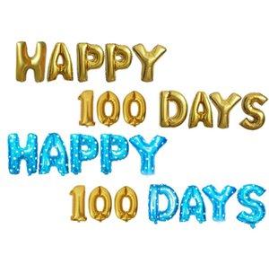 100 Happy Days balloons Aluminium Coating Ballon 16'' Birthday baloons New Year Baby girl Boy Happy cheering Party decorations Xmas