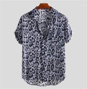 패션 통기성 남성 디자이너 의류 레오파드 프린트 느슨한 남성 셔츠 여름 짧은 소매 남성 캐주얼상의