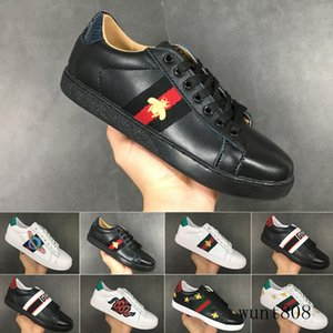 Bee designers shoes Top Quality New ACE embroidered white black Paris Genuine Leather Designers Sneaker Men Dress Women Casual Shoes KY6LM