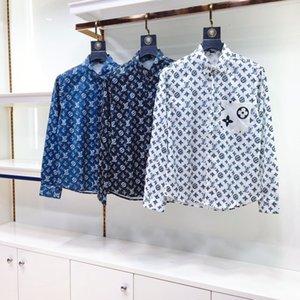 20SS new shirt high-quality men's shirt soft skin-friendly vertical sense strong full body printed classic old pattern single pocket design
