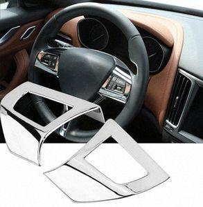 마세라티 레반테 2017년부터 2018년까지 크롬 ABS 플라스틱 자동차 액세서리 인테리어 eo6y 번호 2 개 인테리어 스티어링 휠의 버튼 커버 트림 프레임