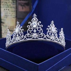 British Royal Crowns mit Zirkonia Brautschmuck Mädchen Abend-Abschlussball-Partei-Leistung Pageant Kristall Hochzeit Tiaras Zubehör # BW-JS036