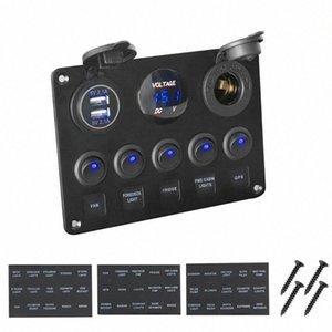 Impermeable voltímetro digital USB de doble combinación de puerto 12V del enchufe del coche marina del barco LED Interruptor oscilante Panel Wy4B #