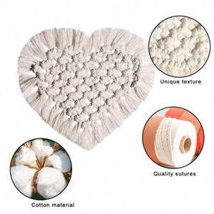 Hand-woven Lace Cotton Rope Heart Shaped Placemats Bohemia Style Table Decor Table Mat Cup Mat wrrb#