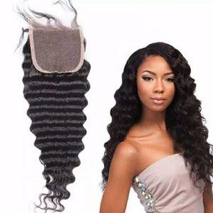 8a Dantel Üst Kapatma Derin Dalga Brezilyalı İnsan Saç 4 * 4Hair Blok göster güzellik