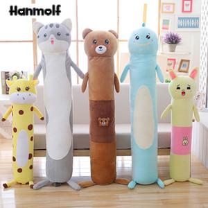 Longo Animais corpo Plush Pillow Stuffed cilíndrico Bolster Dormir companheiro crianças Adultos Coelho Urso Dino Giraffe Cat 95/140 centímetros MX200716
